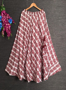 Maroon Cotton Digital Print Designer Skirt