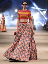 Load image into Gallery viewer, Sabyasachi Multi Color Floral Printed Satin Lehenga With Crop Top