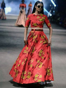 Sabyasachi Red Color Floral Printed Satin Lehenga With Crop Top