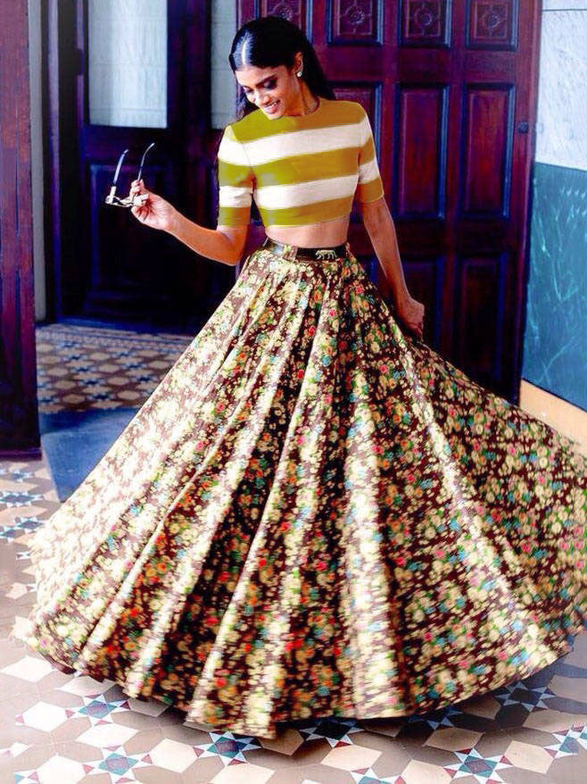 Sabyasachi Yellow Color Floral Printed Satin Lehenga With Crop Top