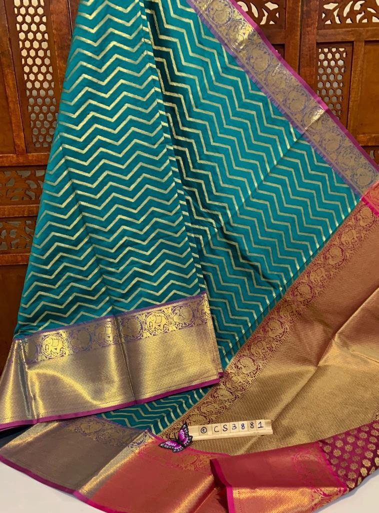 Sea Green Zari Woven Kanchipuram Zigzag Saree