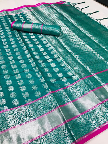 Buy Silver Zari Woven Designer Turquoise Wedding Silk Saree Online from Dhaga Fashion