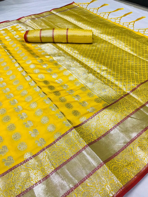 Buy Silver Zari Woven Designer Yellow Wedding Silk Saree Online from Dhaga Fashion
