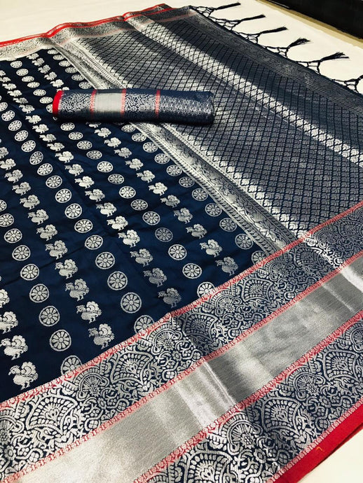 Buy Silver Zari Woven Navy Blue Wedding Silk Saree Online from Dhaga Fashion