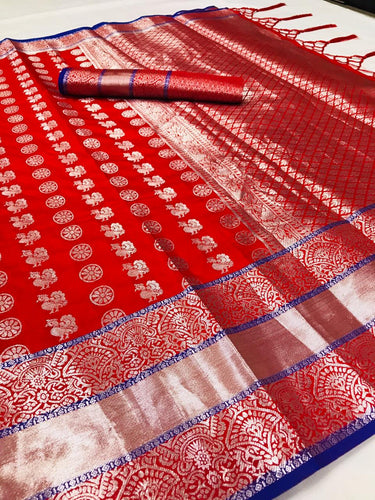Buy Silver Zari Woven Red Bridal Wedding Silk Saree Online from Dhaga Fashion
