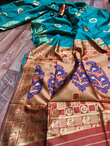 Sky Blue and Orange Paithani Silk Saree