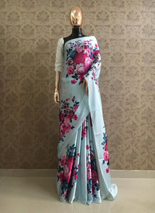 Sky Blue and Pink Digital Floral Printed Satin Saree