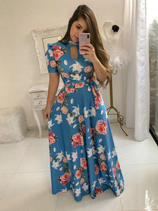 Sky Blue Floral Printed Long Frock For Girls