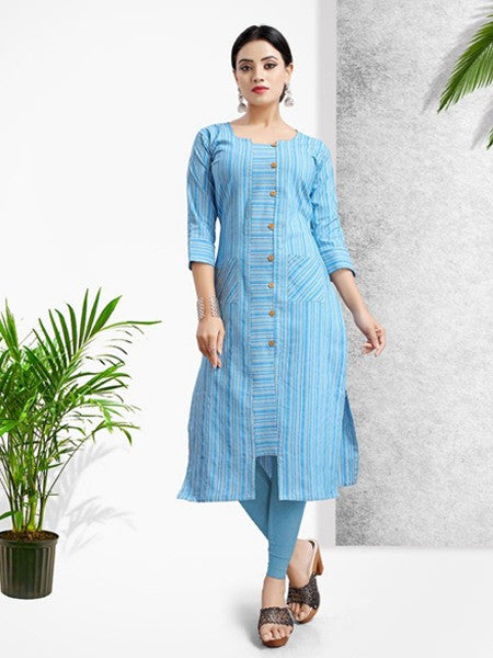 Sky Blue Khadi Cotton Printed Kurti