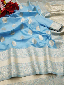 Sky Blue Pure Linen Silk Saree