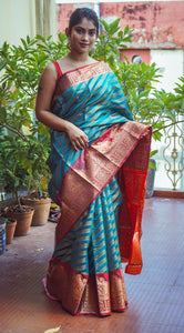 Sky Blue Zari Woven Soft Silk Saree with Zari Border