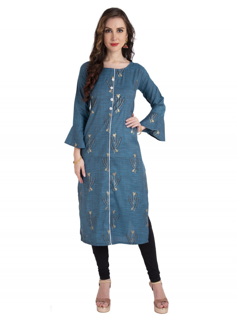 Turquoise Cotton Kurti With Bell Sleeves