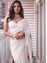 Load image into Gallery viewer, White Designer Digital Printed Satin Saree