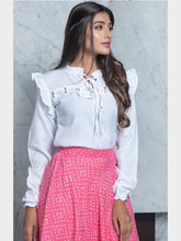 Load image into Gallery viewer, White And Pink Crop Top Lehenga For Wedding