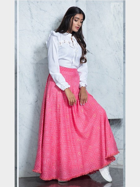 White And Pink Crop Top Lehenga For Wedding