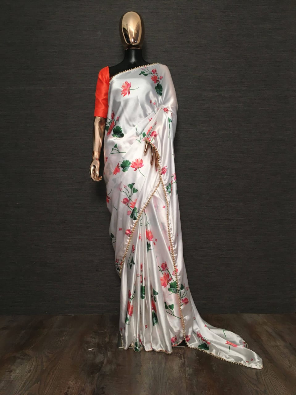 White Pearl Lace Floral Japan Satin Saree With Red Blouse