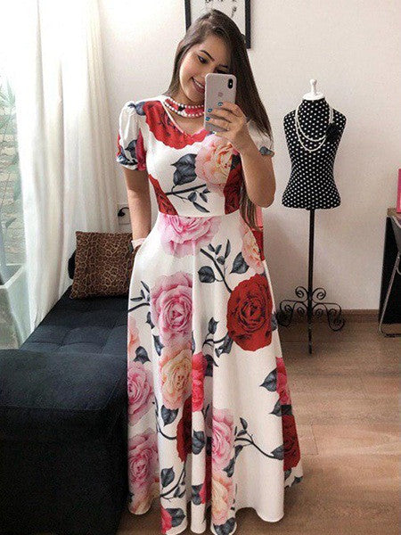 White Rose Printed Partywear Gown For Women