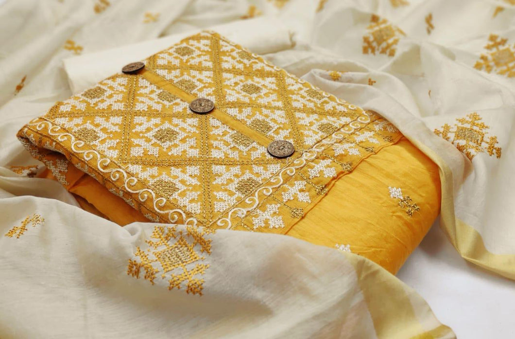 Yellow Cotton Embroidered Churidar Suit