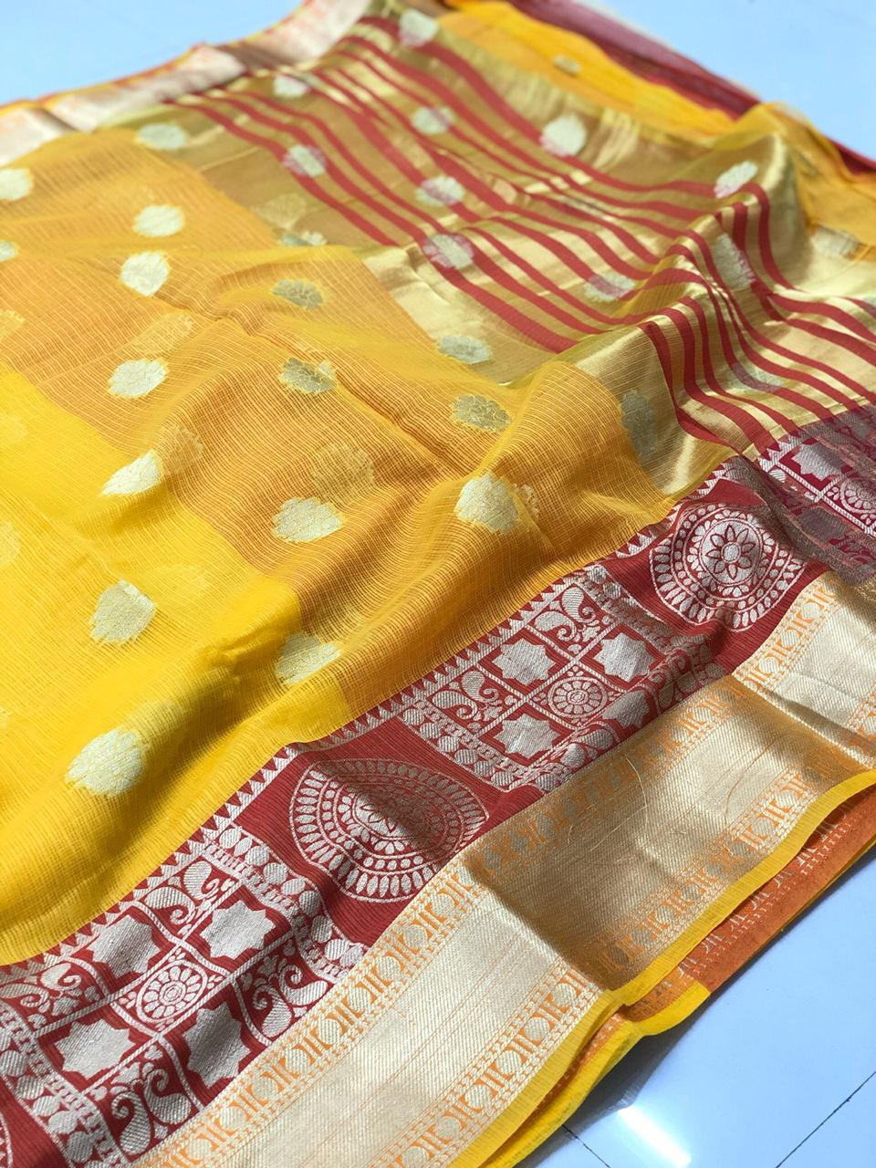 Yellow and Maroon Wedding Silk Saree for Haldi