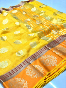 Yellow and Orange Kota Doria Silk Saree