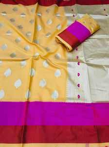 Buy Yellow and Pink Soft Linen Silk Saree Online from Dhaga Fashion