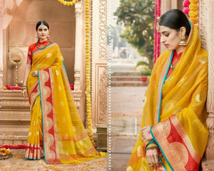 Yellow and Red Wedding Silk Saree with Border