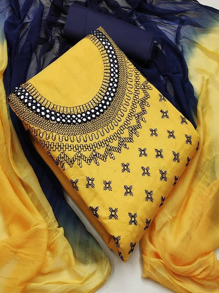Yellow And Blue Cotton Dress Material