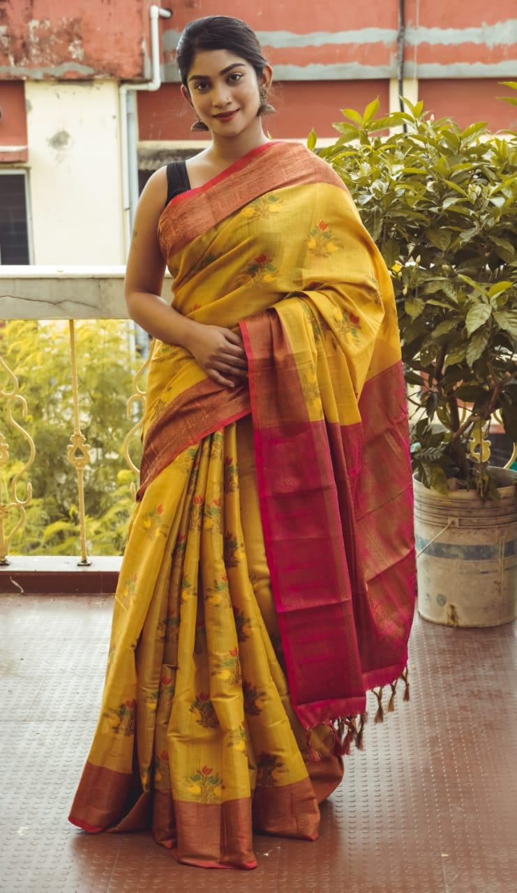 Mustard Color Women Silk Saree