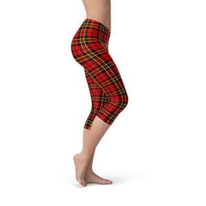 Womens Red Plaid Tartan Capri Leggings