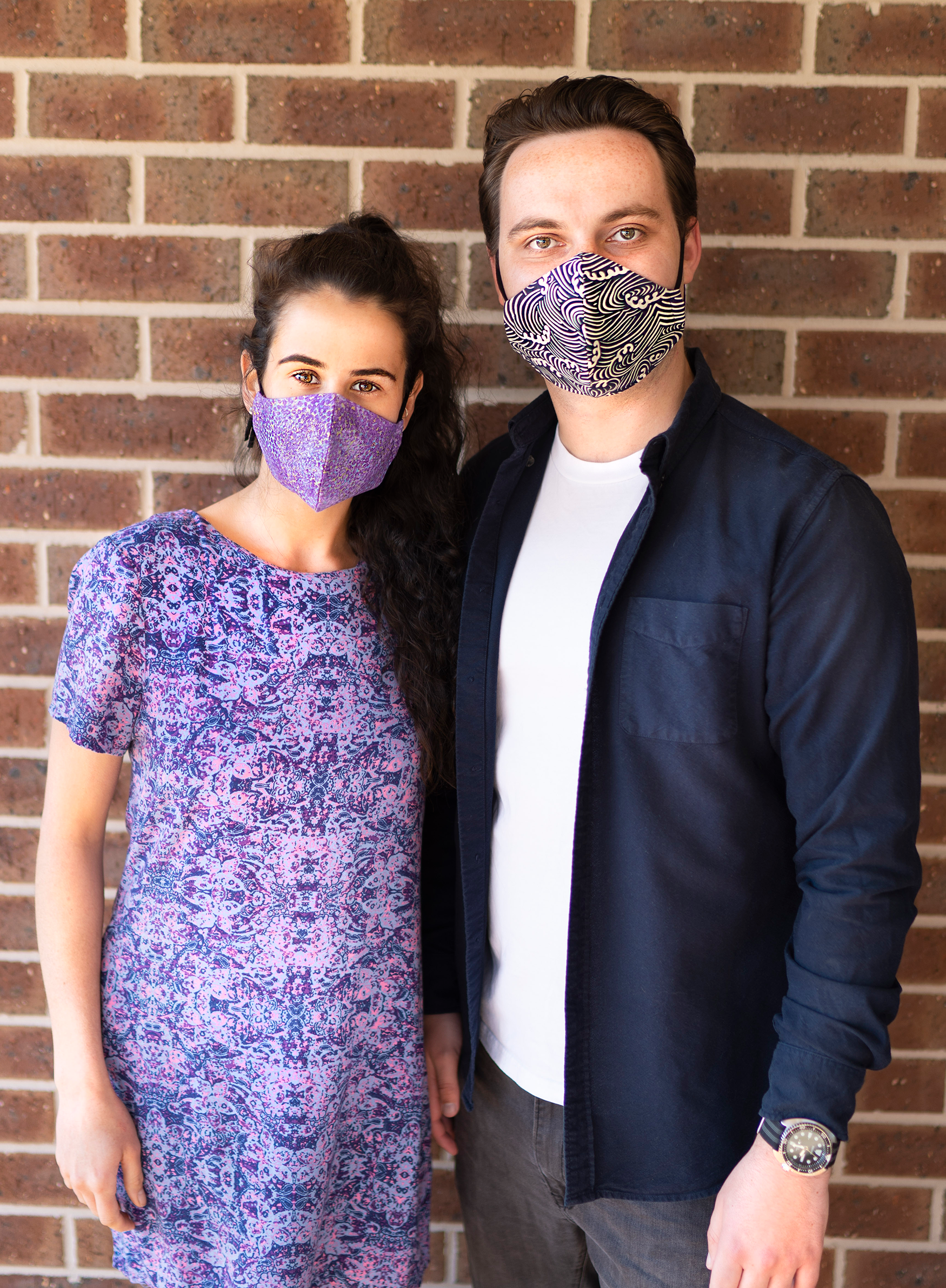 Triple layered face mask made in Melbourne Australia from cotton and poplin featuring a unique shiny glimmering lavender print