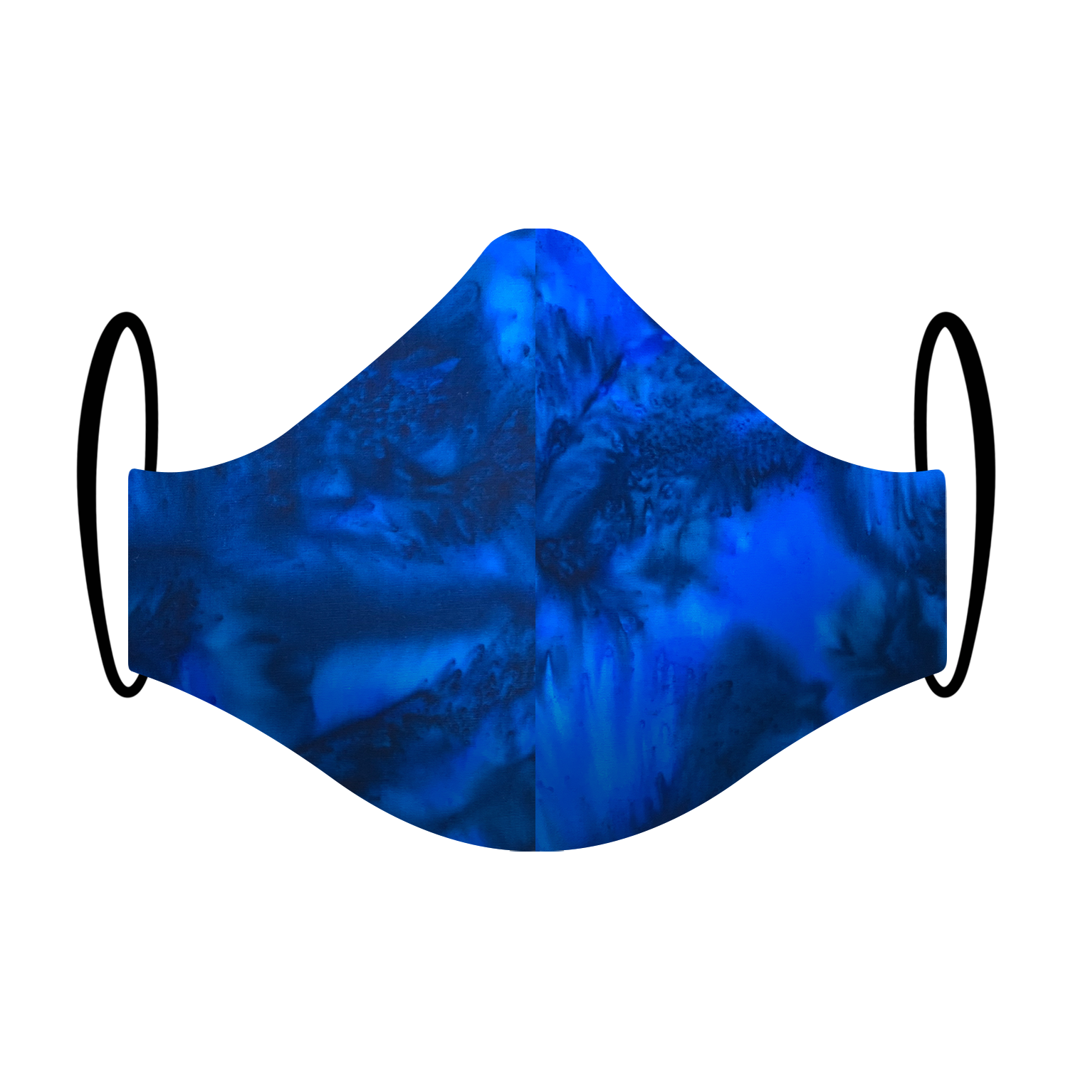 Triple layered face mask made in Melbourne Australia from cotton and poplin featuring a unique tie-dyed blue ocean print