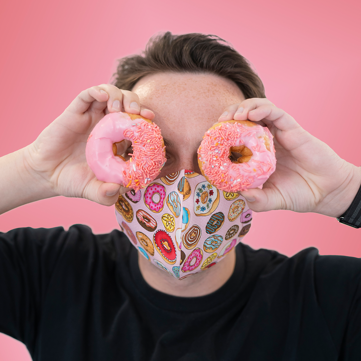 Triple layered face mask made in Melbourne Australia from cotton and poplin featuring a unique doughnut print
