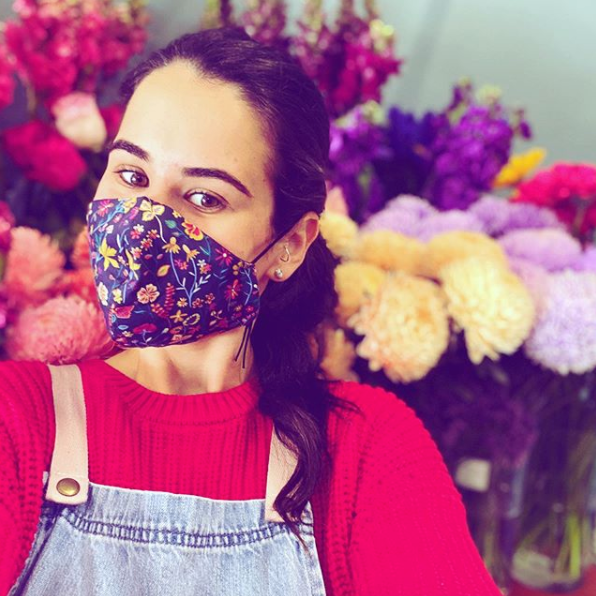 Triple layered face mask made in Melbourne Australia from cotton and poplin featuring a unique Liberty London floral print