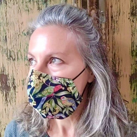 """Lorikeep Your Distance"" Rainbow Lorikeet Print Triple-layer Washable Face Mask"
