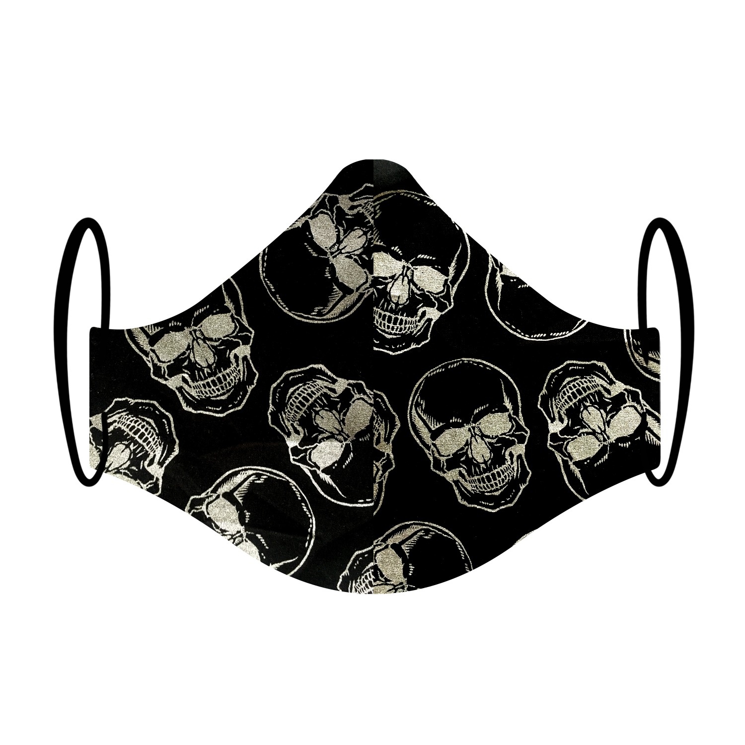 Triple layered face mask made in Melbourne Australia from cotton and poplin featuring a unique metal silver skulls print
