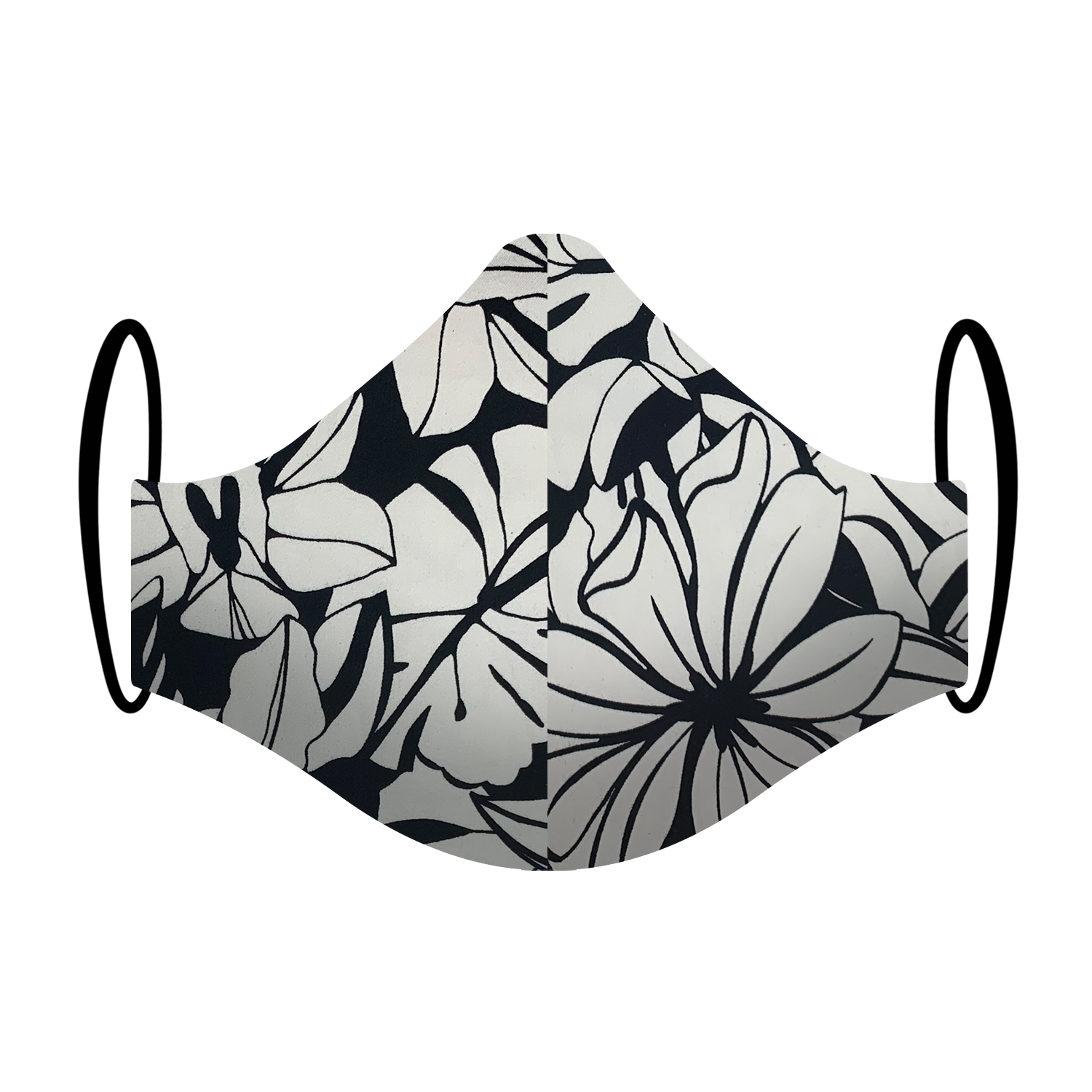 Triple layered face mask made in Melbourne Australia from cotton and poplin featuring a unique monochromatic abstract leaf print