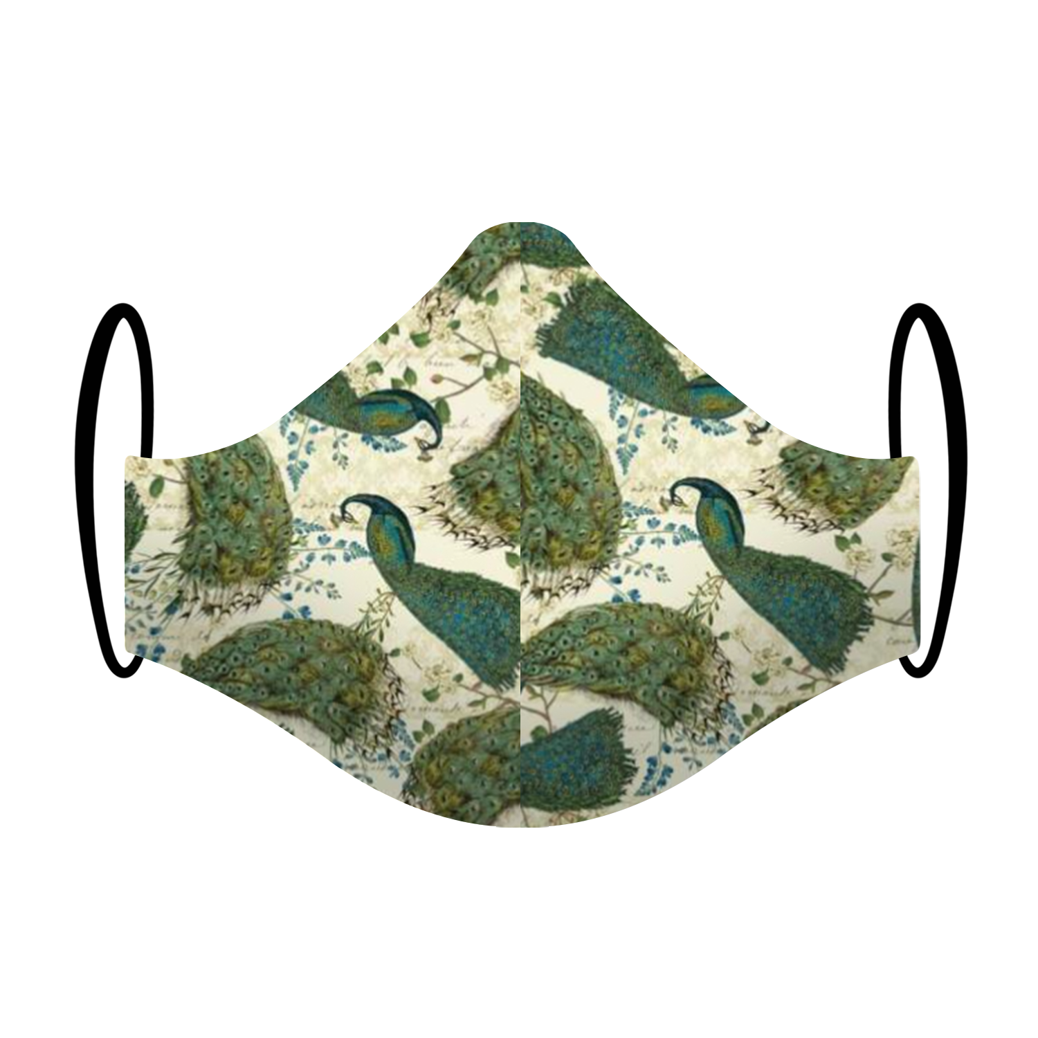 """Classic Show-off"" Peacock Print Triple-layer Washable Face Mask"