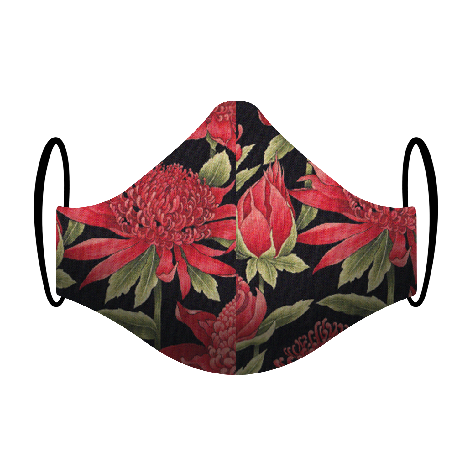 """Waratah"" Native Flower Print Triple-layer Washable Face Mask"