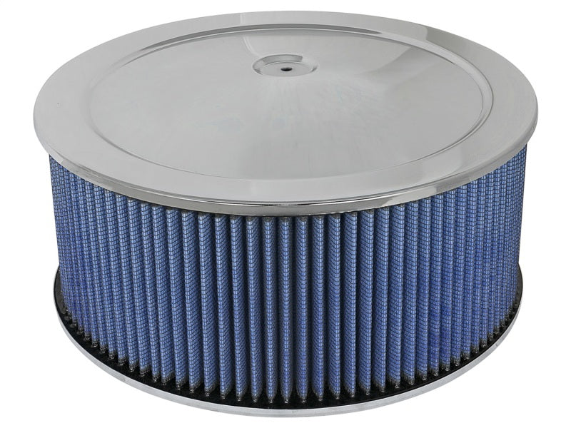 aFe MagnumFLOW Air Filters Round Racing P5R A/F Chrome Assy 14x6: Blk/Blue E/M