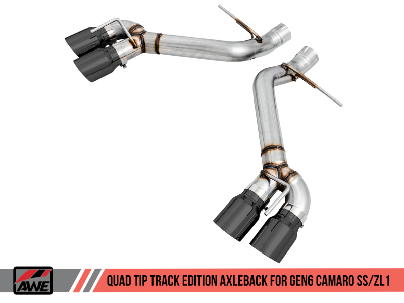 AWE Tuning 16-19 Chevrolet Camaro SS Axle-back Exhaust - Track Edition (Quad Diamond Black Tips)