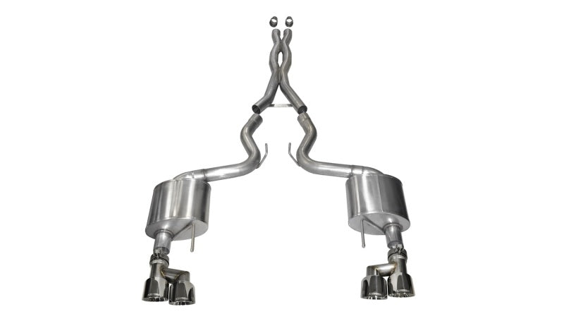 Corsa 15-16 Ford Mustang GT 5.0 3in Cat Back Exhaust Polish Quad Tips (Xtreme)