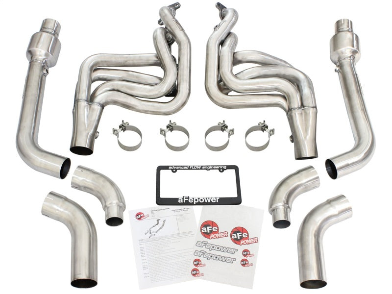 aFe Twisted Steel Long Tube Headers w/ Connection Pipes & Cats 2015 Ford Mustang V8 5.0L