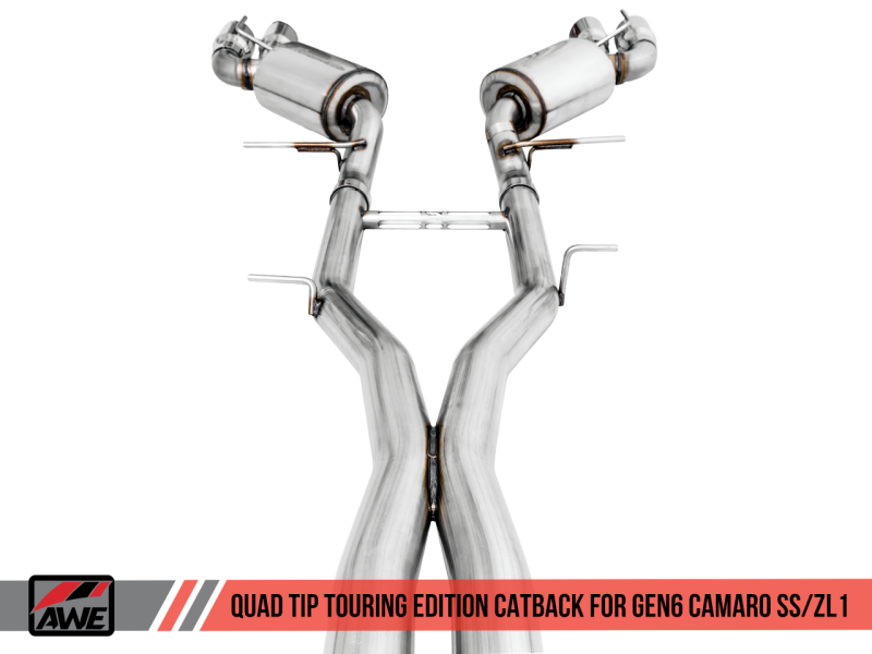 AWE Tuning 16-19 Chevy Camaro SS Res Cat-Back Exhaust -Touring Edition (Quad Chrome Silver Tips)