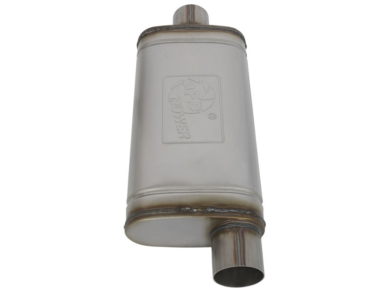 aFe MACHForce XP SS Muffler 3in Center Inlet / 3in Offset Outlet 18in L x 9in W x4in H Body