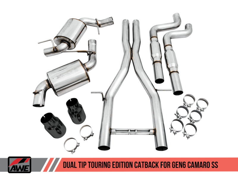 AWE Tuning 16-19 Chevy Camaro SS Non-Resonated Cat-Back Exhaust -Touring Edition (Diamond Black Tip)