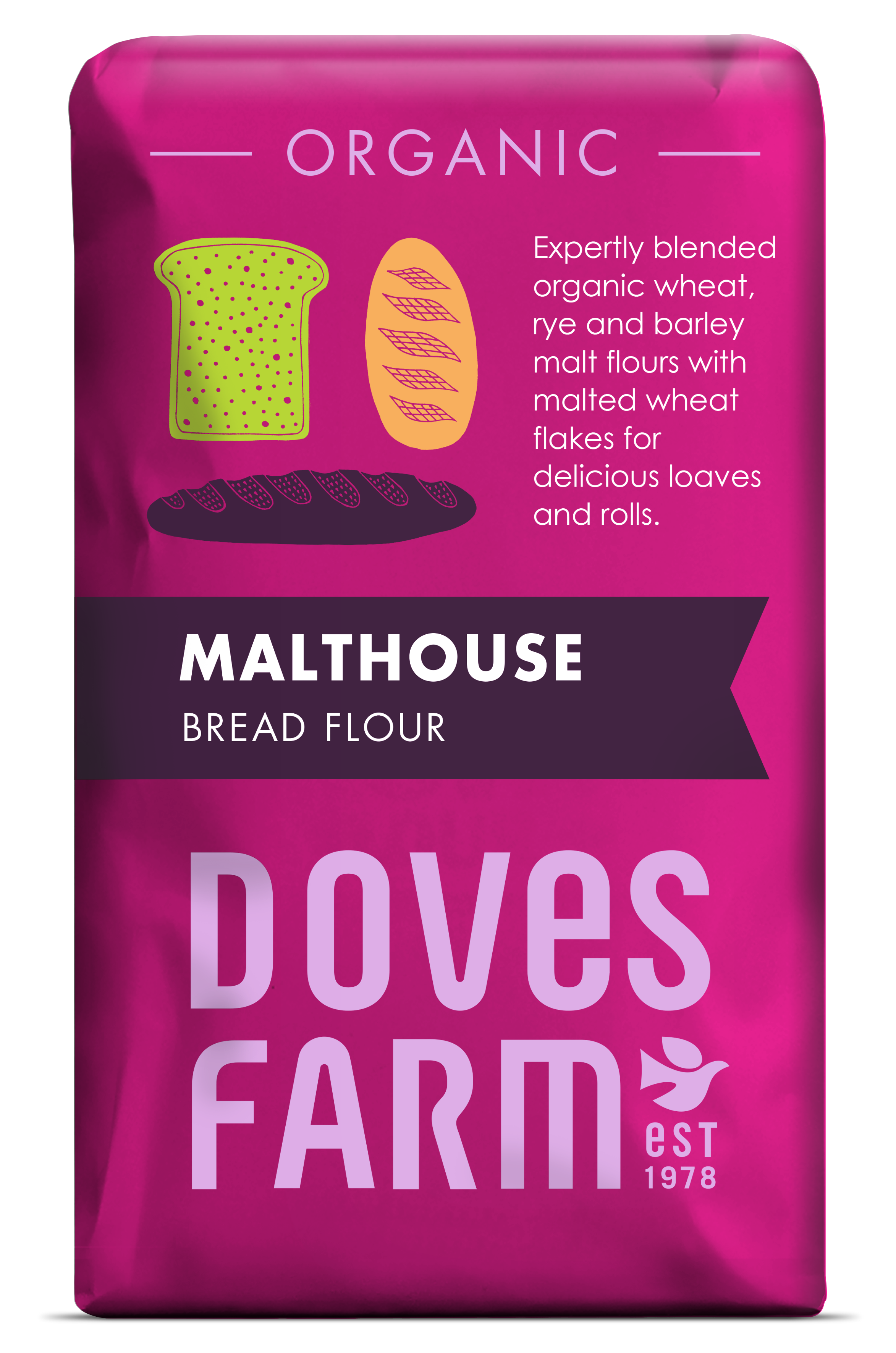 Doves Farm - Organic Bread Malthouse Flour 1kg - Flour 2 Door