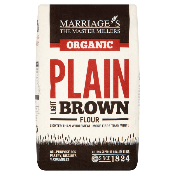 Marriages Organic Light Brown Plain Flour 1kg