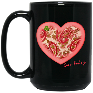 Pinky Heart Large Black Mug