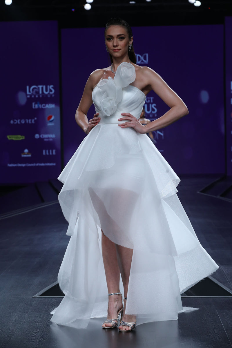 Amit GT - White tier draped ruffle gown