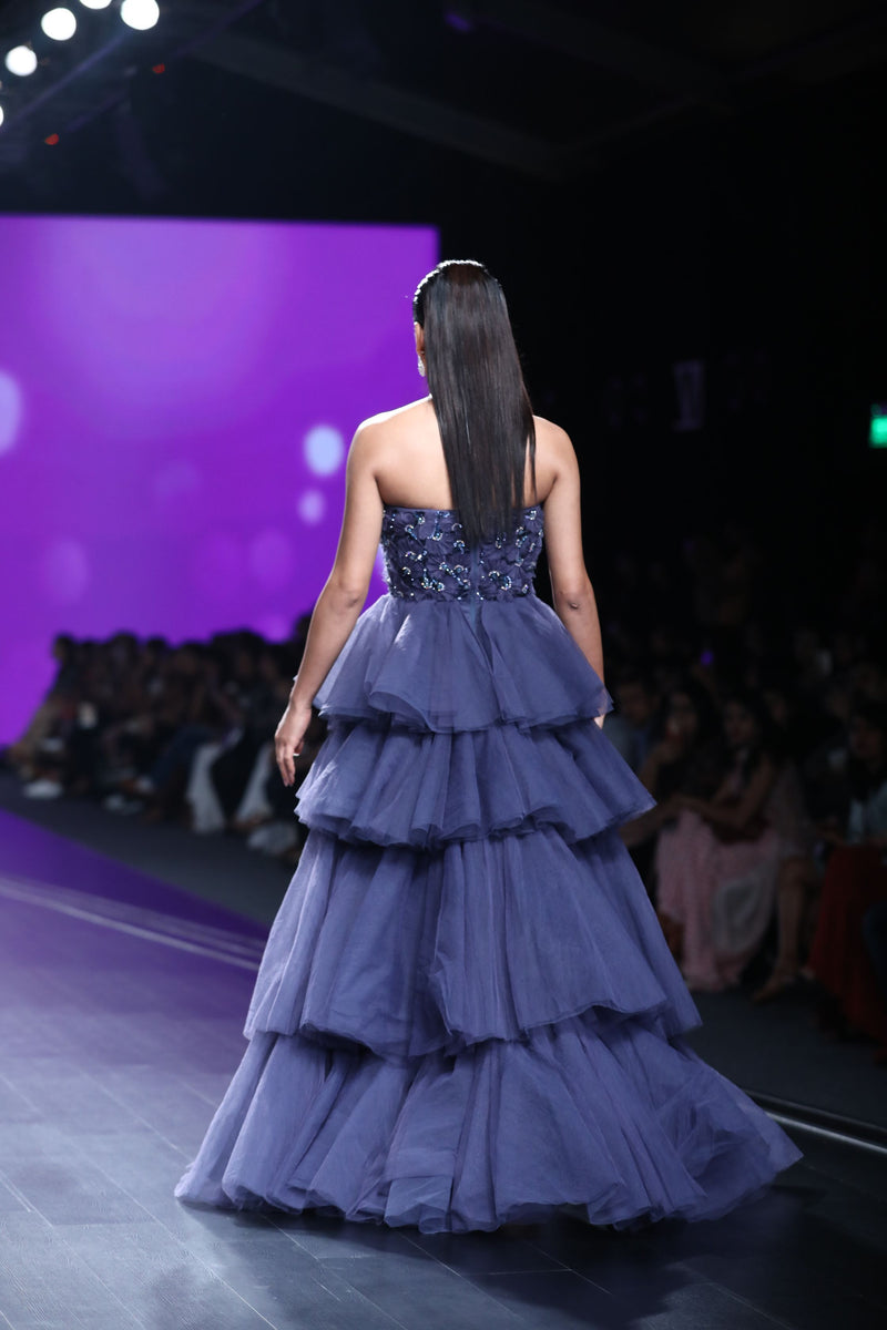 Amit GT - Midnight blue tier draped ball gown